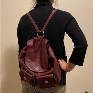 Coach burgundy backpack